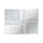 Weights & Measures Cooking and Baking Equivelents Countertop Glass Cutting Board & Surface Protector Board