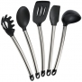Elite Kitchenware Stainless Steel Kitchen Utensils, 5 Piece Silicone Cooking Utensil Set Including Spatula, Spoon, Server, Turner and Ladle - Cookware Set - Kitchen Gadgets