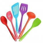 Lucentee® 6-Piece Silicone Cooking Set - 2 Spoons, 2 Turners, 1 Spoonula / Spatula & 1 Ladle - Heat Resistant Kitchen Utensils (Multicolor)
