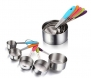 Yoroi 5 PCS Solid Sturdy Stainless Steel Stackable Measuring Cups Set to Measure Dry and Liquid Ingredients with Soft Handles,for Kitchen Cooking Baking
