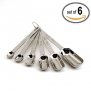 Narrow Stainless Steel Measuring Spoons for Thin, Narrow Mouth Spice Jars (Set of 6) - Commercial Chef's Quality for Baking and Cooking.
