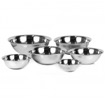 ChefLand Standard Weight Mirror Finish Mixing Bowls, 3/4, 11/2, 3, 4, 5, and 8-Quart, Stainless Steel, Set of 6